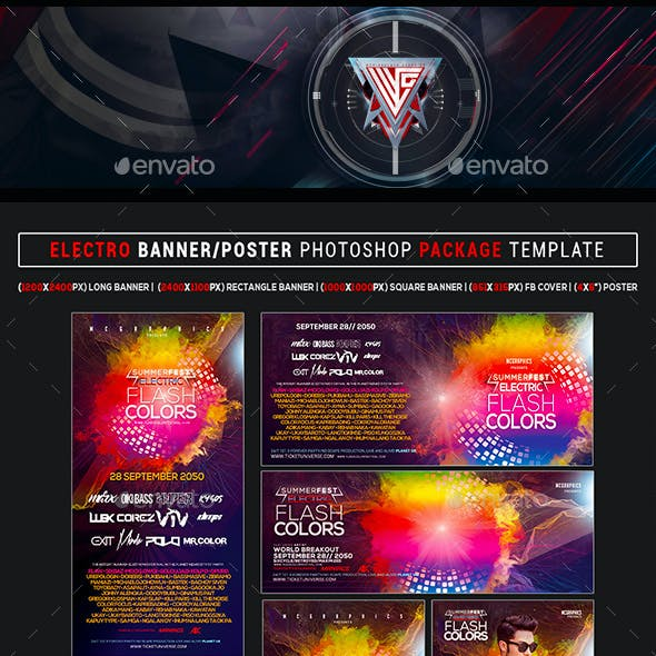 Summer Fest Flash Colors WEB Banners Photoshop Templates