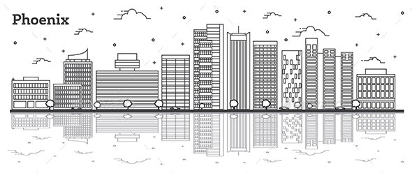 Outline Phoenix Arizona City Skyline with Modern Buildings and Reflections Isolated on White. - Buildings Objects
