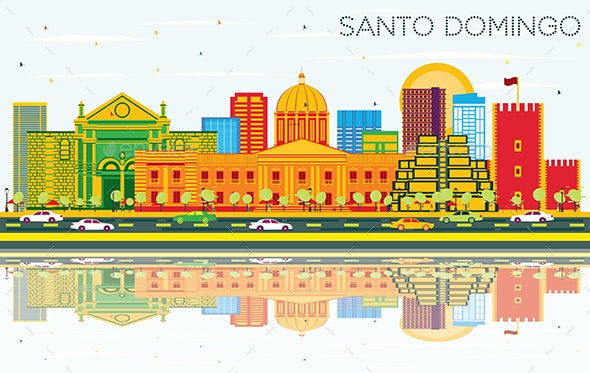 Santo Domingo Dominican Republic Skyline with Color Buildings, Blue Sky and Reflections. - Buildings Objects