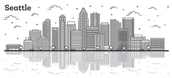 Outline Seattle Washington City Skyline with Modern Buildings and Reflections Isolated on White. - Buildings Objects