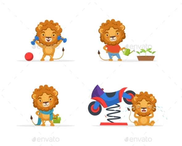Lion Character in Different Situations - Animals Characters