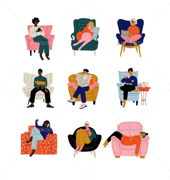 People Sitting at Home in Comfortable Armchair Set - People Characters