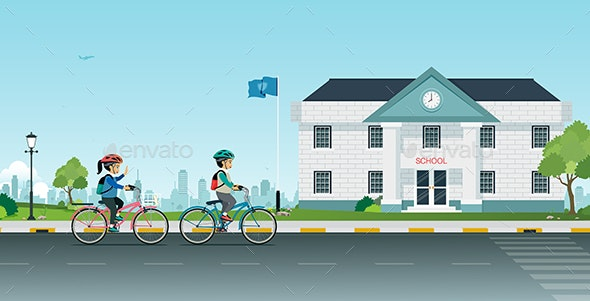 Cycling to School - People Characters
