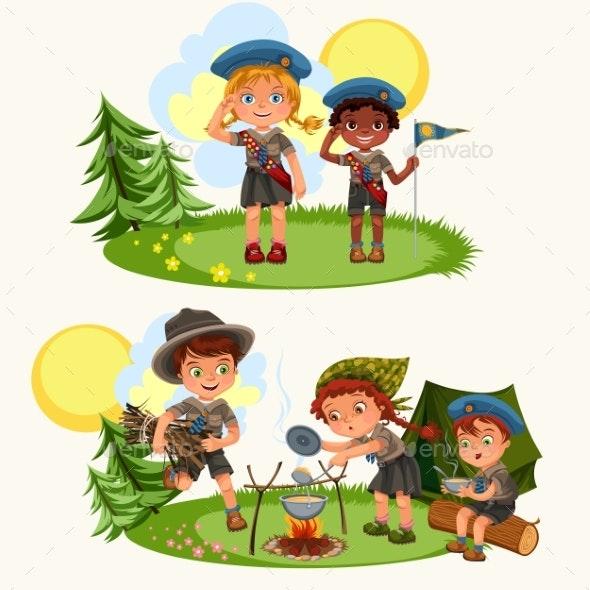 Cartoon Happy Children Having Fun Together - People Characters