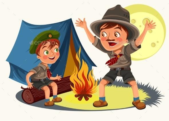 Cartoon Children Mentor Telling Interesting - People Characters
