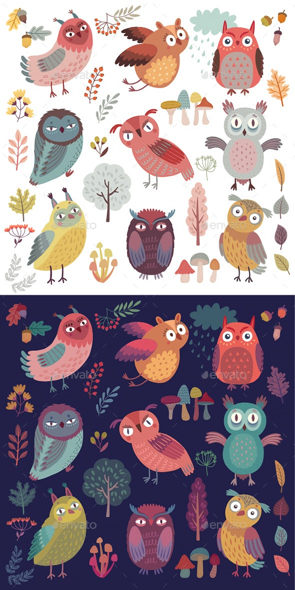 Seamless Pattern With Woodland Owls - Animals Characters