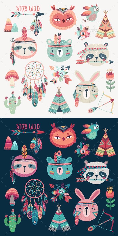 Woodland Boho Tribal Characters - Animals Characters