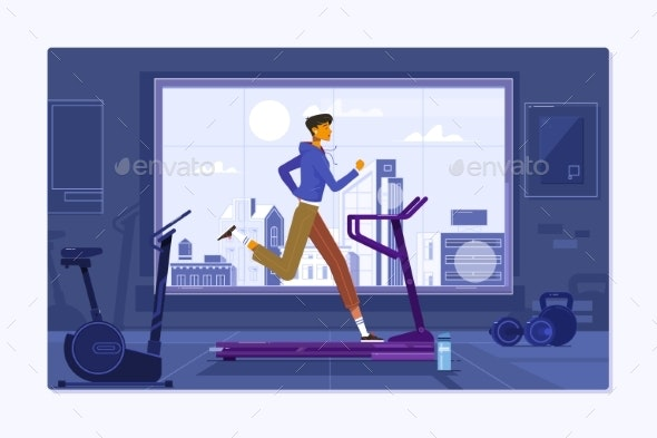 Young Man in Sportswear Running on Treadmill - Sports/Activity Conceptual