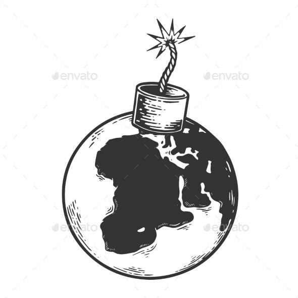 Bomb Planet Earth Sketch Engraving Vector - Miscellaneous Vectors