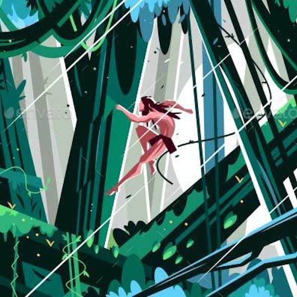 Wild Man Jumping in Jungles