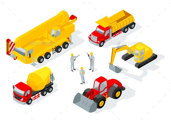 Building and Construction Machinery Flat Isometric Illustration - Industries Business