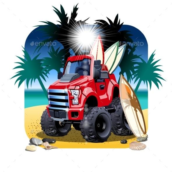 Vector Cartoon 4X4 Car on Beach Isolated - Man-made Objects Objects