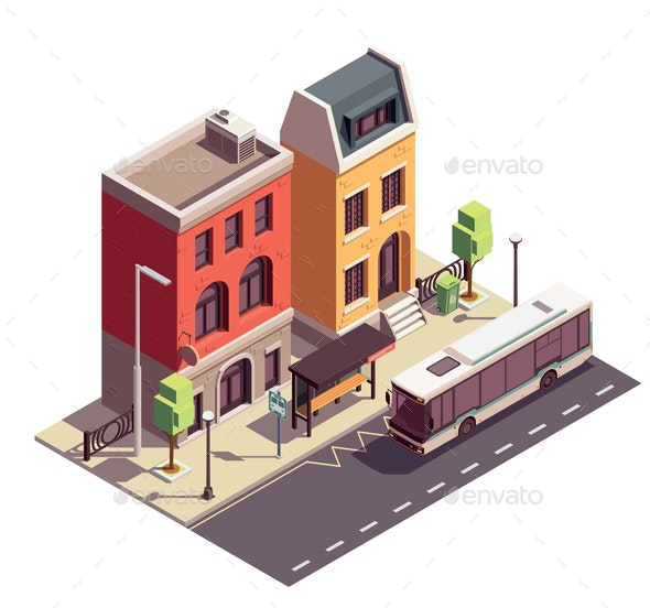 Bus Stop Townhouse Composition - Buildings Objects