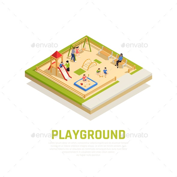 Family Playing Isometric Concept - Sports/Activity Conceptual
