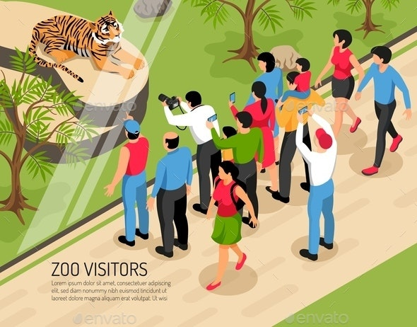 Zoo Visitors Isometric Illustration - People Characters