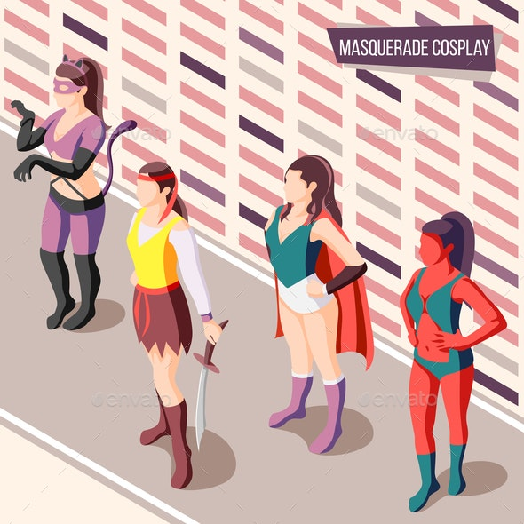 Masquerade Isometric Background - People Characters