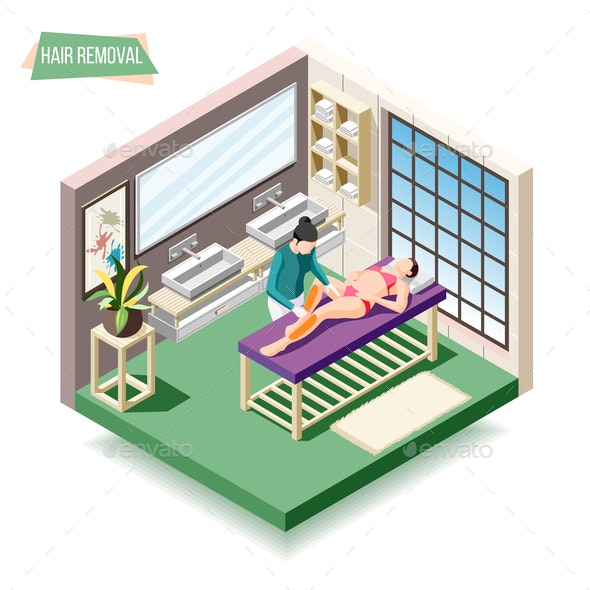 Hair Removal Isometric Composition - Services Commercial / Shopping