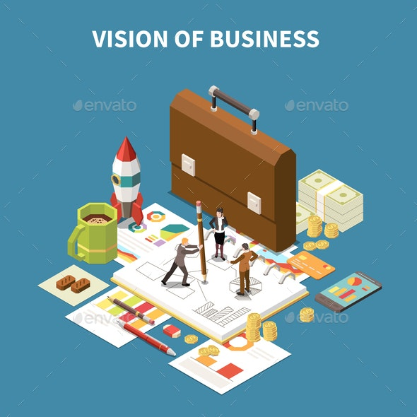 Isometric Business Strategy Composition - Concepts Business