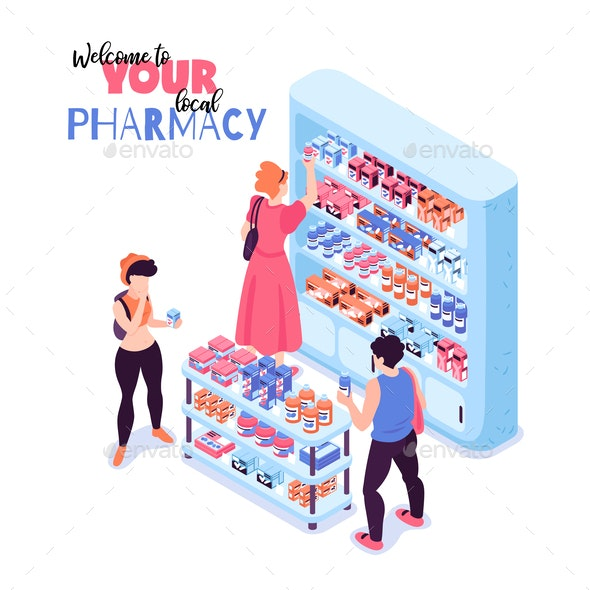 Isometric Pharmacy Illustration - Health/Medicine Conceptual