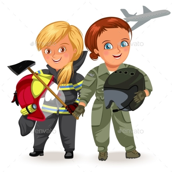 Woman Pilot and Firefighter - People Characters