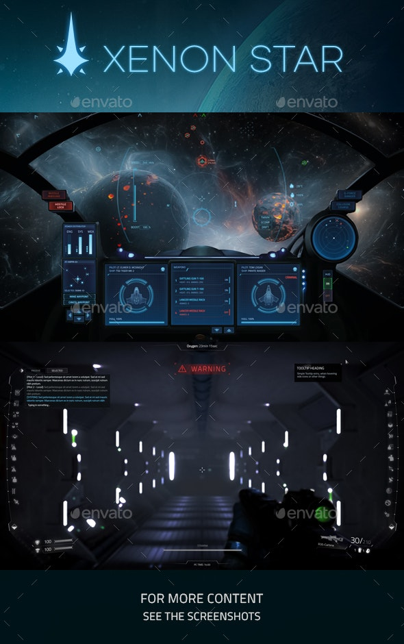 Xenon Star - User Interfaces Game Assets