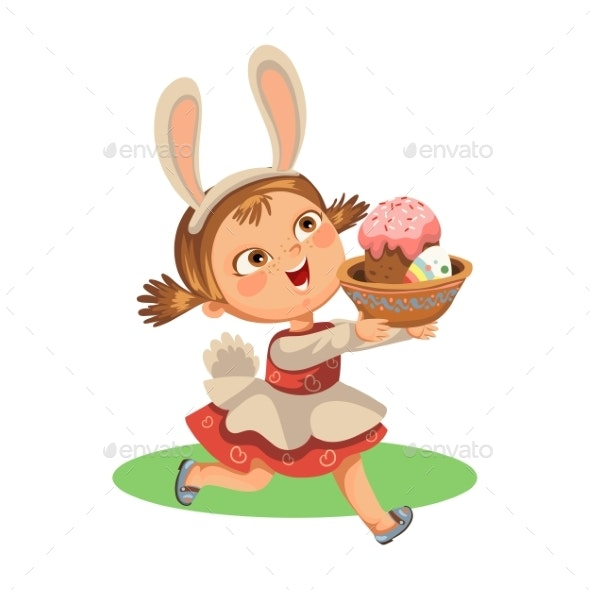 Girl Smiles Running Hunting Decorative Eggs - Miscellaneous Seasons/Holidays