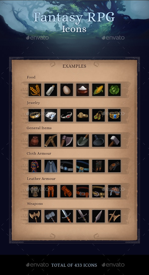 Fantasy RPG Icons - Miscellaneous Game Assets