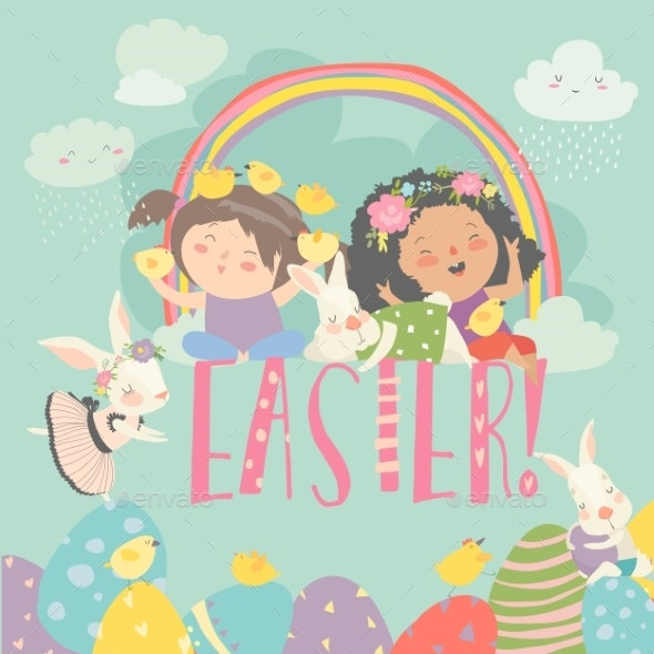 Girls with Easter Theme - Miscellaneous Seasons/Holidays