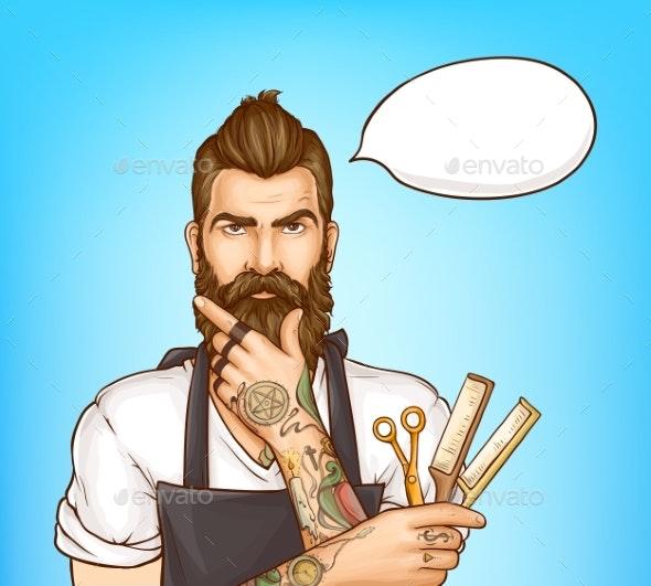 Barbershop Hairdresser Pop Art Vector Portrait - People Characters