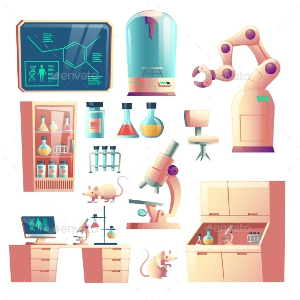 Future Science Lab Equipment Cartoon Vector Set - Technology Conceptual