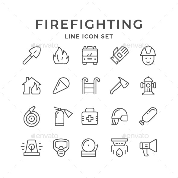 Set Line Icons of Firefighting - Man-made objects Objects