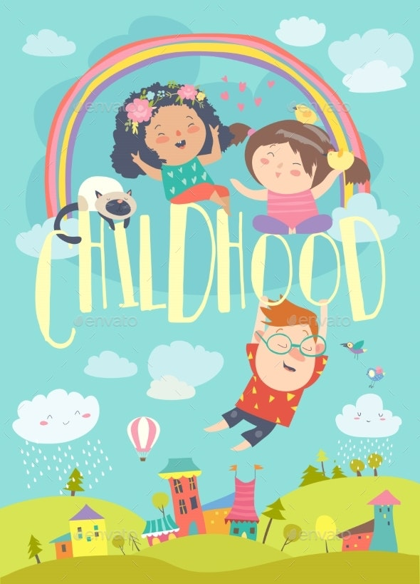 Children with Rainbow Happy Childhood - People Characters