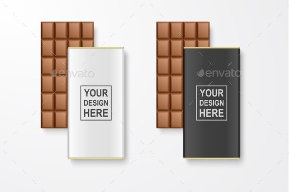 Vector Realistic White and Black Blank Chocolate - Food Objects