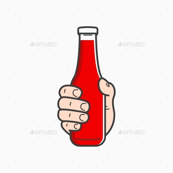 Hand Holds Ketchup Bottle - Food Objects