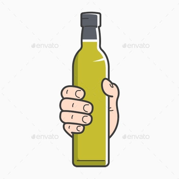 Hand Holds Olive Oil
