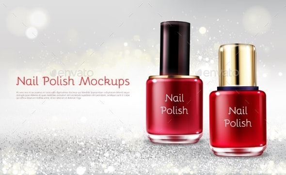 Red Nail Polish Realistic Vector Promo Banner - Backgrounds Business