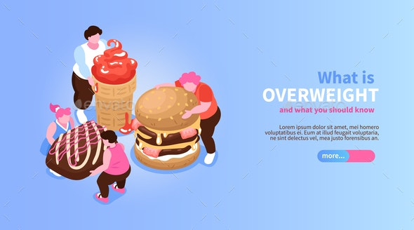 Overweight Isometric Concept Banner - Miscellaneous Conceptual