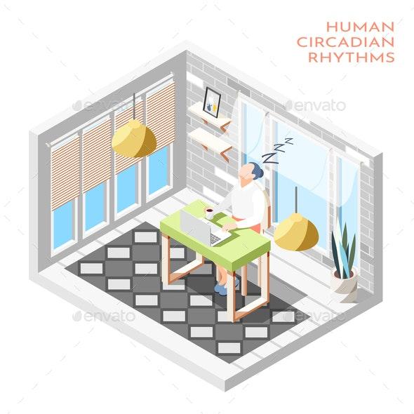 Human Circadian Rhythms Isometric Composition - Health/Medicine Conceptual