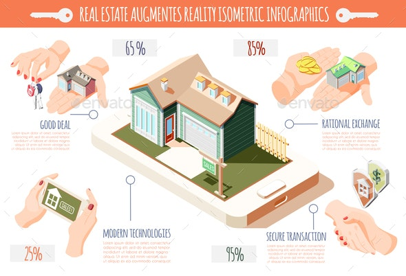 Real Estate Augmented Reality Isometric Infographics - Buildings Objects