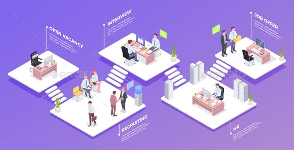 Recruitment Isometric Background Composition - People Characters