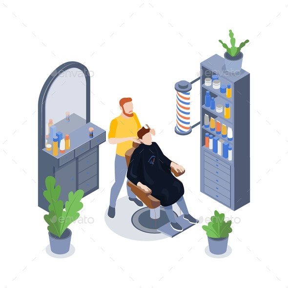Isometric Barbershop Composition - Services Commercial / Shopping