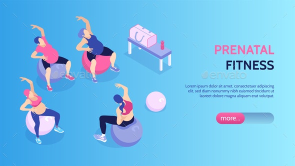 Isometric Gym Horizontal Banner - Sports/Activity Conceptual