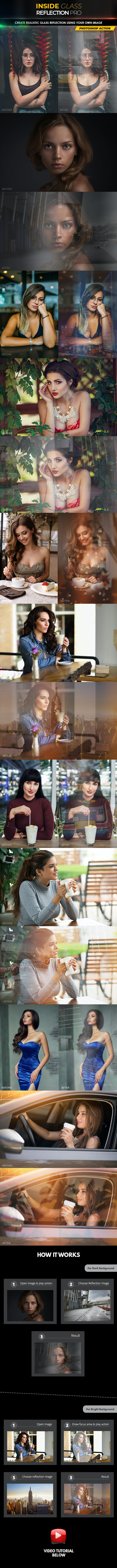 Inside Glass Reflection Pro - Photoshop Action - Photo Effects Actions