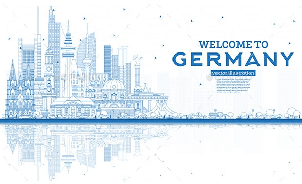 Outline Welcome to Germany Skyline with Blue Buildings and Reflections. - Buildings Objects