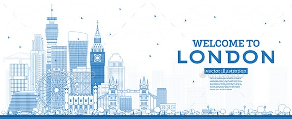 Outline Welcome to London England Skyline with Blue Buildings. - Buildings Objects