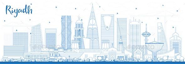 Outline Riyadh Saudi Arabia City Skyline with Blue Buildings. - Buildings Objects