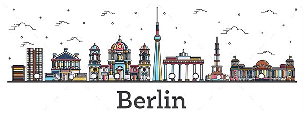 Outline Berlin Germany City Skyline with Color Buildings Isolated on White. - Buildings Objects