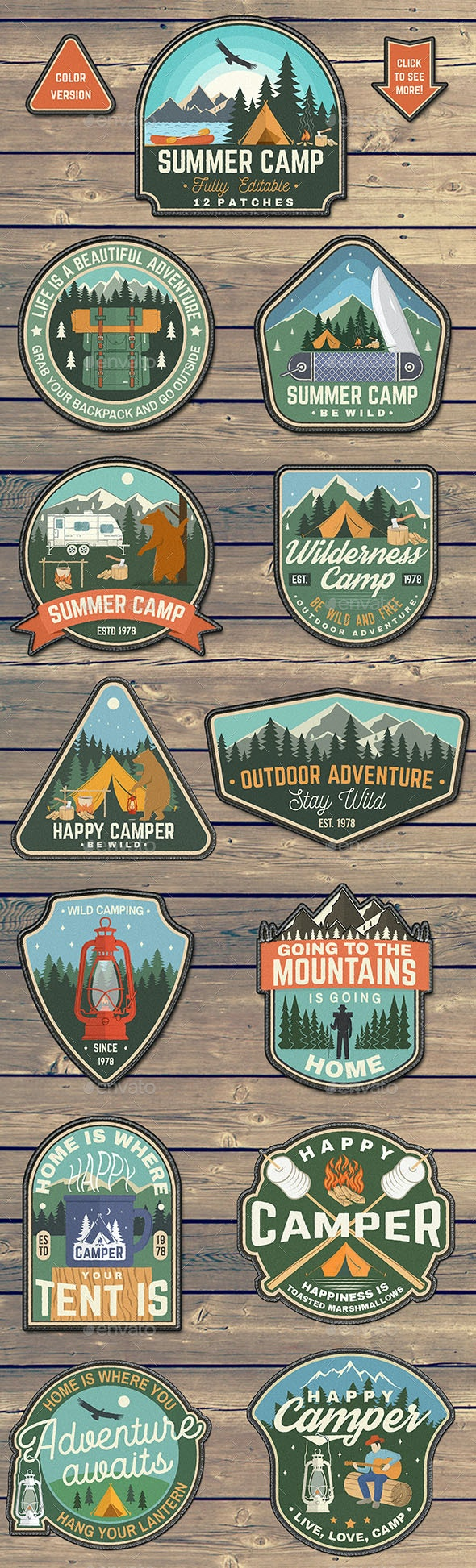 Summer Camp Patches Part 2 - Badges & Stickers Web Elements
