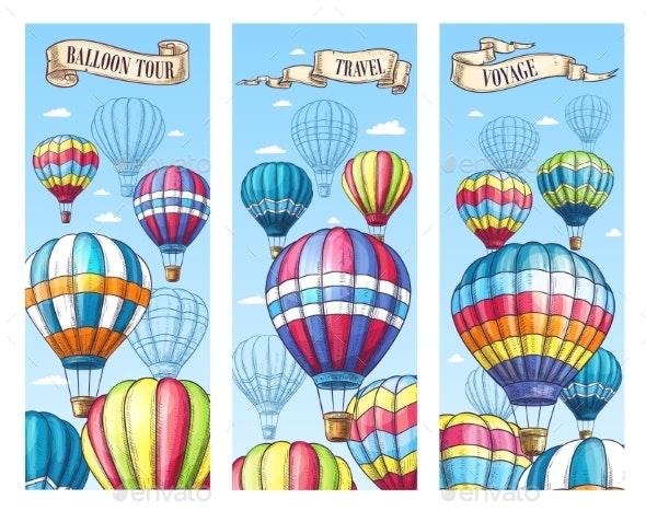 Vector Banners for Hot Air Balloon Travel Tour - Travel Conceptual