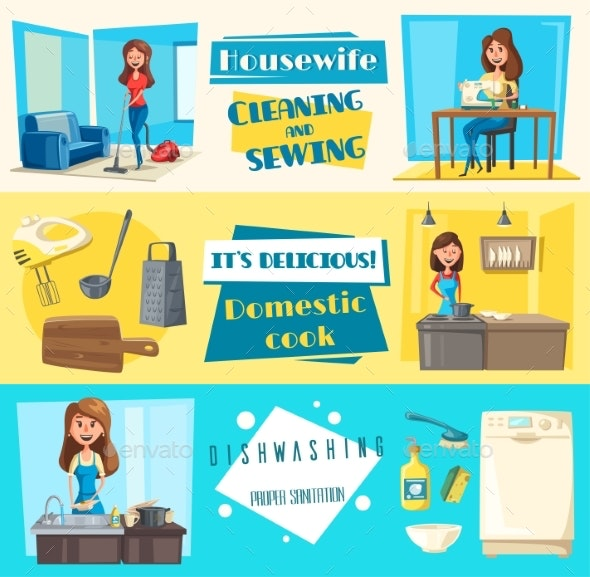Vector Icons for Housework - People Characters